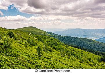 green grassy slope of Runa mountain ridge. Gorgeous...