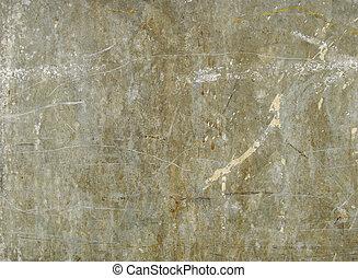 green gray grungy sheet of worn metal