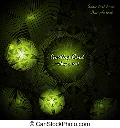 Green greeting card with abstract round patterns
