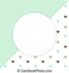 Green greeting card with hearts