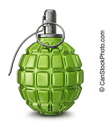 grenade - green grenade isolated on a white. 3d illustration