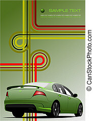 Green-Grey background with green car. Vector illustration