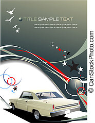 Green-grey business background with retro car image. Vector illustration