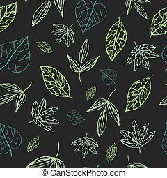 Green, grey seamless floral pattern. Beautiful leaves repeat background. Elegant fabric on dark background. Surface pattern design. Vector.