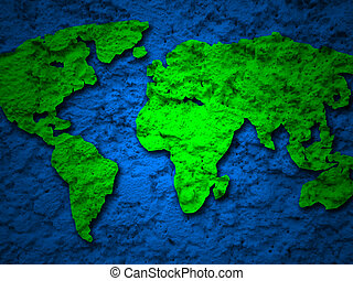 green grunge earth map on a blue 1