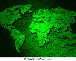 green grunge earth map on a green 1