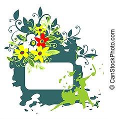 Green grunge floral frame