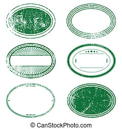 Green Grunge Oval Stamp Set