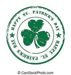 Green grunge rubber stamp. Happy St. Patricks Day