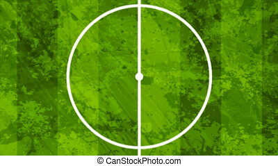 Green grunge soccer field motion background, top view