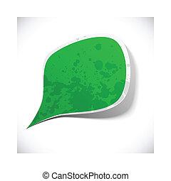 Green grunge speech label design.