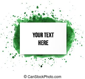 Green grunge splash and realistic paper background with place for your text on white