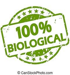green grunge stamp with Banner 100% biological