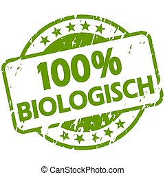 green grunge stamp with Banner 100% biological (in german)