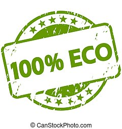green grunge stamp with Banner 100% Eco