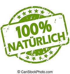 green grunge stamp with Banner 100% natural (in german)