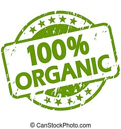 green grunge stamp with Banner 100% organic