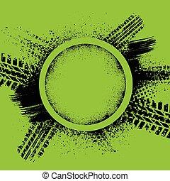 Green grunge tire track background