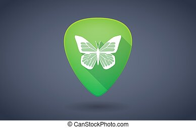 Green guitar pick icon with a butterfly