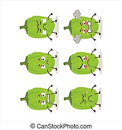 Green habanero cartoon character with various angry expressions