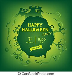 green halloween party circle gradient greeting
