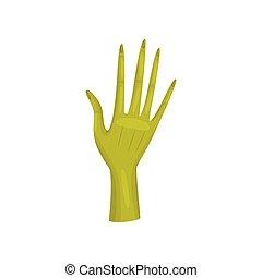 Green hand alien on white background. Vector illustration.