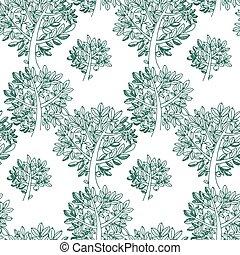 green hand drawn tree seamless pattern