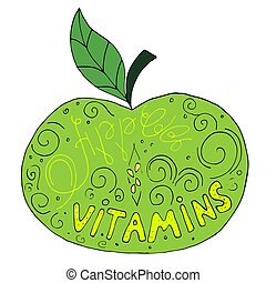 Green hand drawn vector apple with text inside of it. Colorful cartoon apple