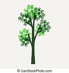 Green hand print tree illustration for nature help