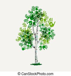 Green hand print tree symbol for environment care