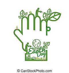 Green Hand Saving Energy Concept