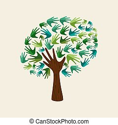 Green hand tree for nature environment help