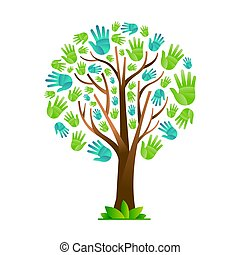 Green hand tree for nature help teamwork