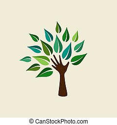 Green hand tree illustration for nature care