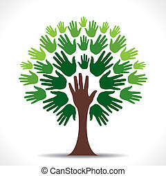 green hand tree vector