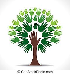 green hand tree vector