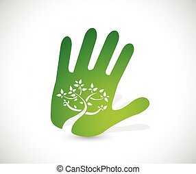 green handprint illustration design