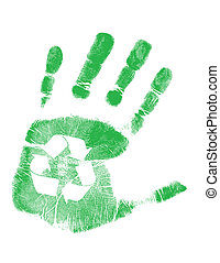 green handprint with recycling symbol in palm over white