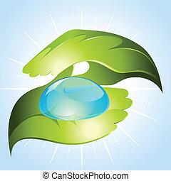 Green hands keeping drop of water