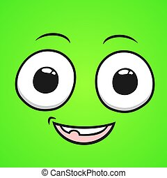 green happy big eyes smile cartoon