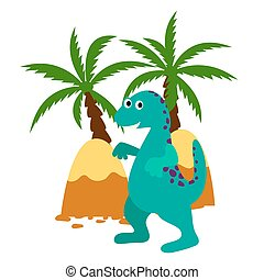 Green happy dinosaur vector applique illustration.