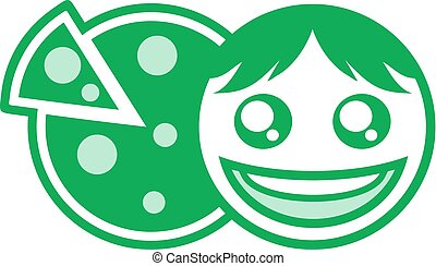 green happy face and pizza symbol