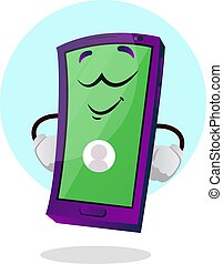 Green happy mobile emoji illustration vector on white background