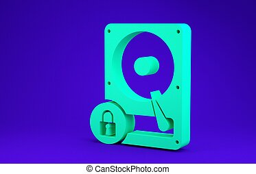 Green Hard disk drive and lock icon isolated on blue background. HHD and padlock. Security, safety, protection concept. Minimalism concept. 3d illustration 3D render