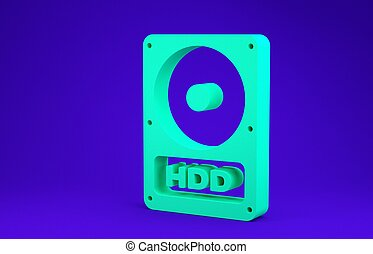 Green Hard disk drive HDD icon isolated on blue background. Minimalism concept. 3d illustration 3D render
