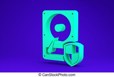 Green Hard disk drive HDD protection icon isolated on blue background. Minimalism concept. 3d illustration 3D render