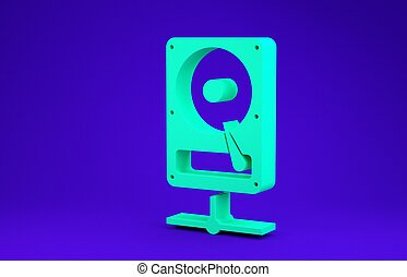 Green Hard disk drive on sharing network icon isolated on blue background. Minimalism concept. 3d illustration 3D render