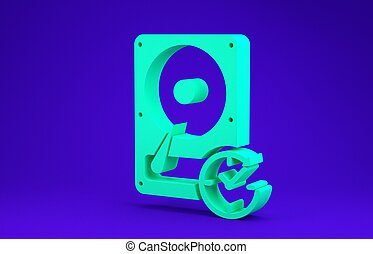 Green Hard disk drive with clockwise sign, data recovery icon isolated on blue background. Minimalism concept. 3d illustration 3D render