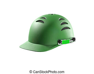 green Hard Hat with clipping path