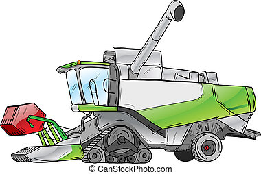 green harvester isolated on the white